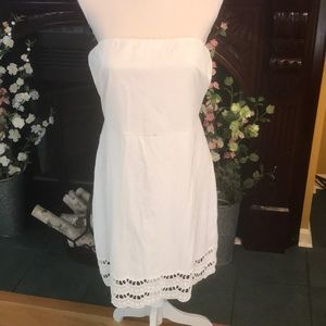 White cotton strapless dress - XL